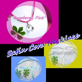 サテンコードネックレス:パールホワイト、アクアブルー、ラズベリーピンク